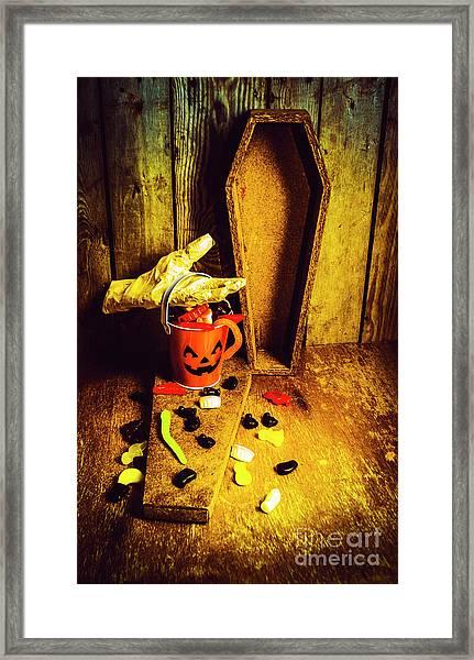 Halloween Trick Of Treats Background Framed Print