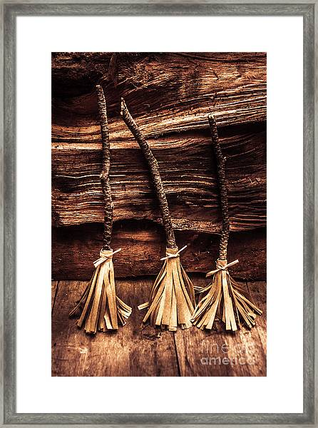 Halloween Witch Brooms Framed Print