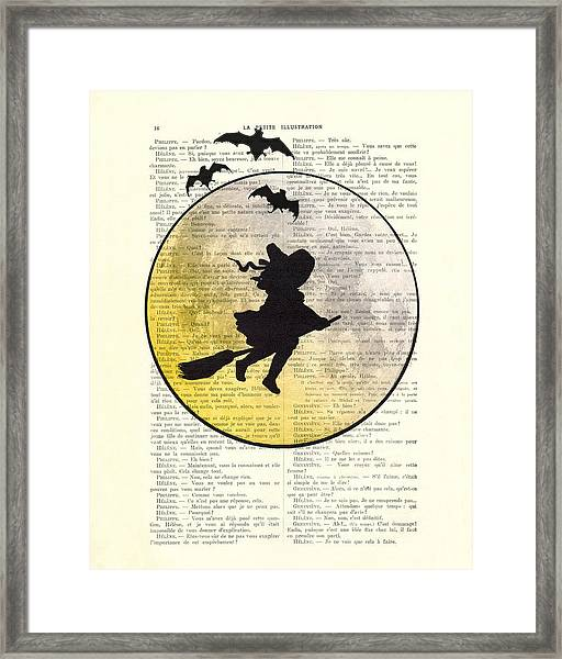 Witch Flying With Full Moon Framed Print