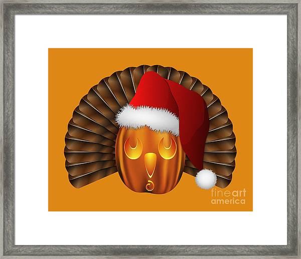 Hallowgivingmas Santa Turkey Pumpkin Framed Print