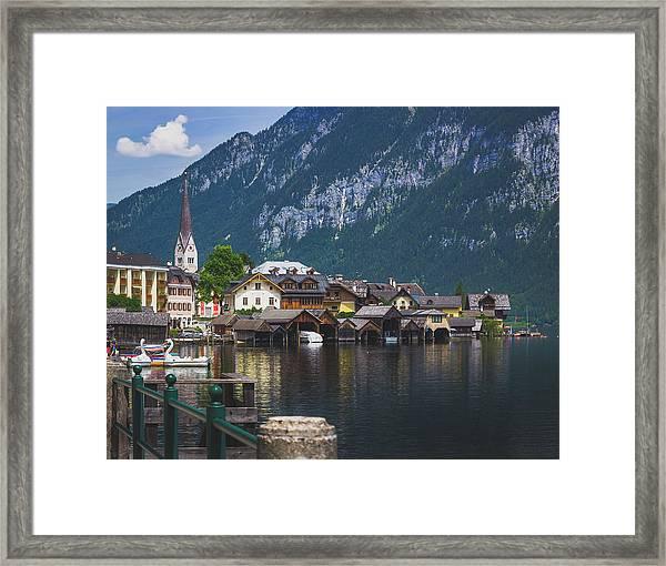 Hallstatt Lakeside Village In Austria Framed Print