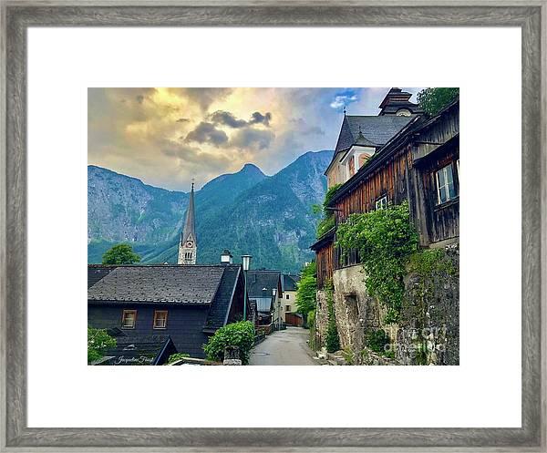Hallstatt Village Stroll Framed Print