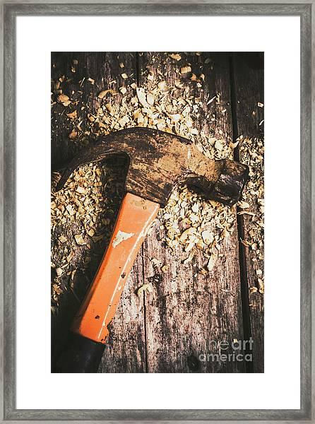 Hammer Details In Carpentry Framed Print