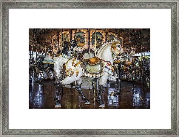 Framed Print featuring the photograph Hampton Carousel by Williams-Cairns Photography LLC