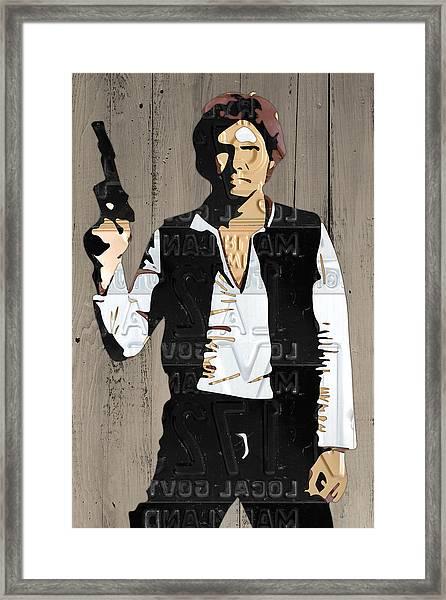 Han Solo Vintage Recycled Metal License Plate Art Portrait On Barn Wood Framed Print