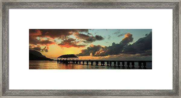 Hanalei Pier Sunset Panorama Framed Print