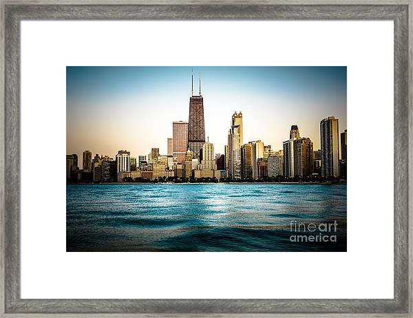 Hancock Building And Chicago Skyline Photo Framed Print
