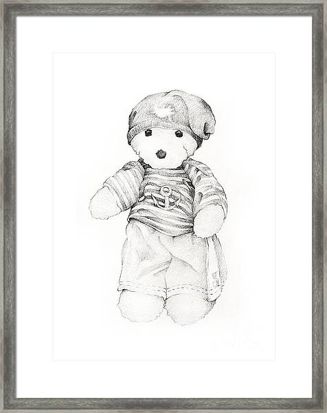 Hand Drawn Lovely Teddy Bear In Sailor Shirts Framed Print