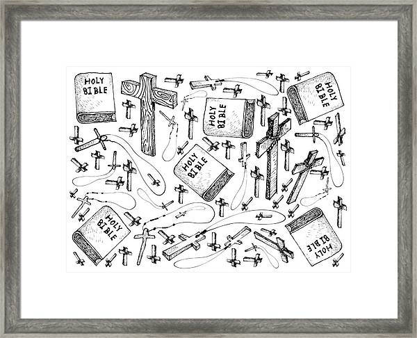Hand Drawn Of Holy Bible With Wooden Cross Background  Framed Print