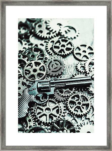 Handguns And Gears Framed Print
