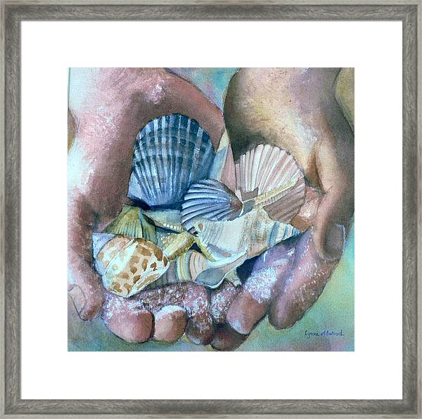 Hands With Shells Framed Print