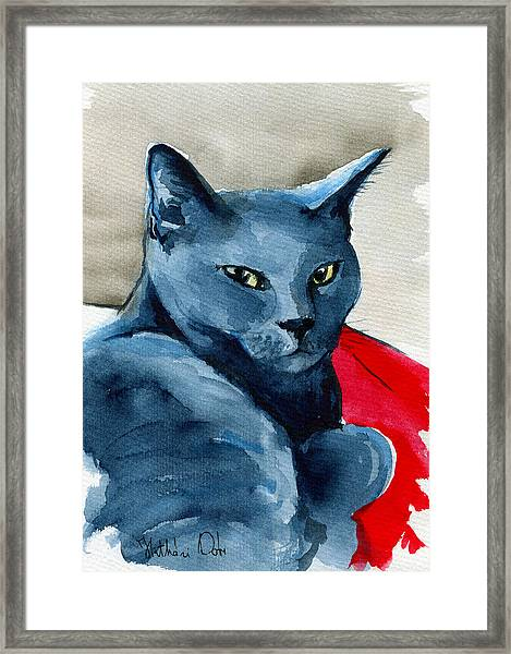 Handsome Russian Blue Cat Framed Print