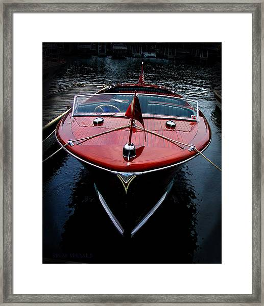 Handsome Wooden Boat Framed Print