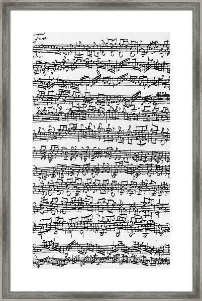 Handwritten Score Of Sonata No 1 For Solo Violin Framed Print