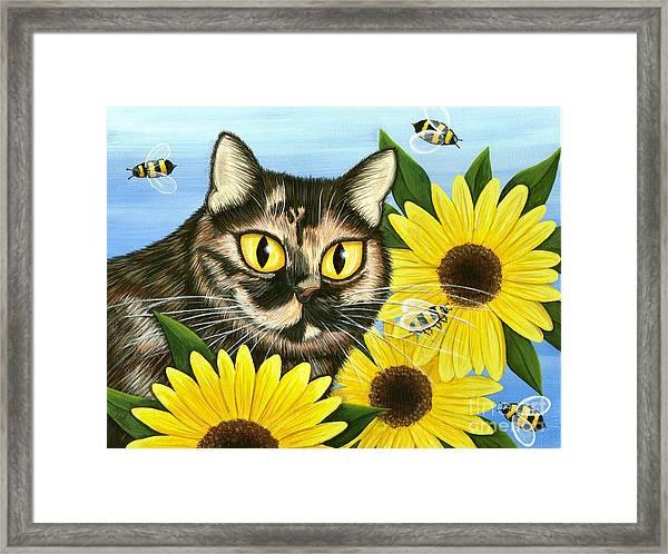 Hannah Tortoiseshell Cat Sunflowers Framed Print