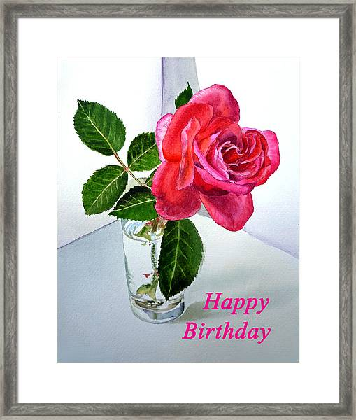 Happy Birthday Card Rose  Framed Print