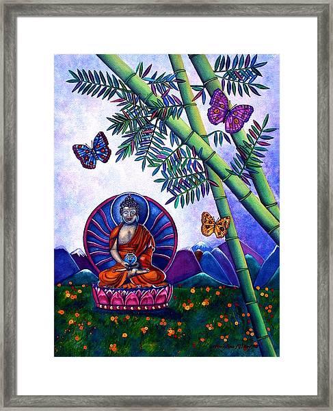 Happy Buddha And Prosperity Bamboo Framed Print