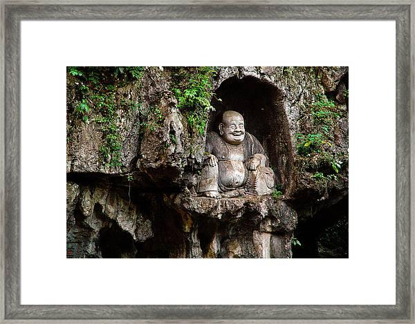 Happy Buddha Framed Print