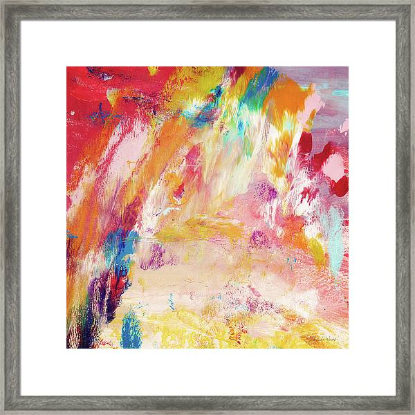 Happy Day- Abstract Art By Linda Woods Framed Print