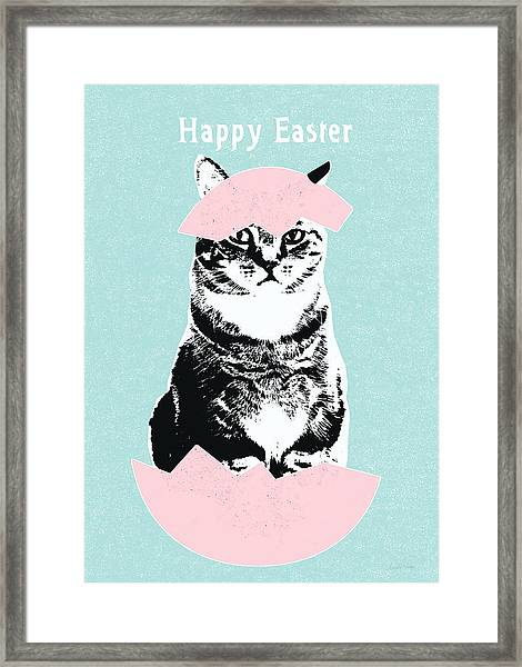 Happy Easter Cat- Art By Linda Woods Framed Print