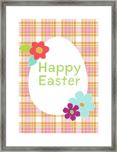 Happy Easter Egg Pink Plaid- Art By Linda Woods Framed Print