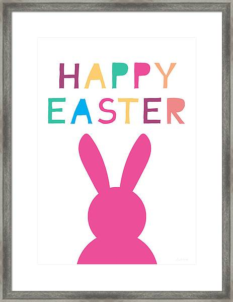 Happy Easter Pink Bunny- Art By Linda Woods Framed Print