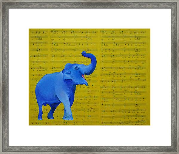 Happy Elephant Singing Emily Framed Print