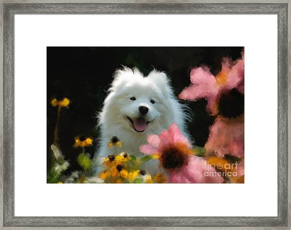 Framed Print featuring the digital art Happy Gal In The Garden by Lois Bryan