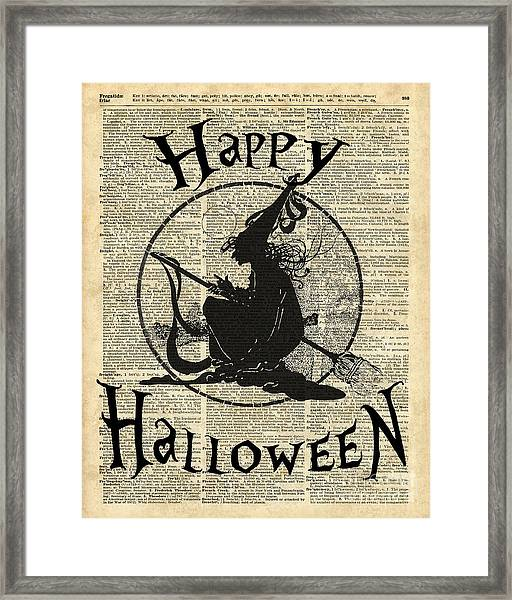 Happy Halloween Witch With Broom Dictionary Artwork Framed Print
