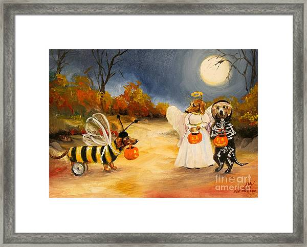Happy Halloweenies Dachshund Art Framed Print by Stella Violano