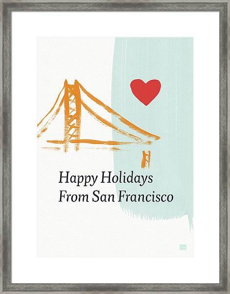 Happy Holidays San Francisco- Art By Linda Woods Framed Print