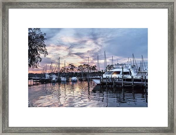 Happy Hour Sunset At Bluewater Bay Marina, Florida Framed Print