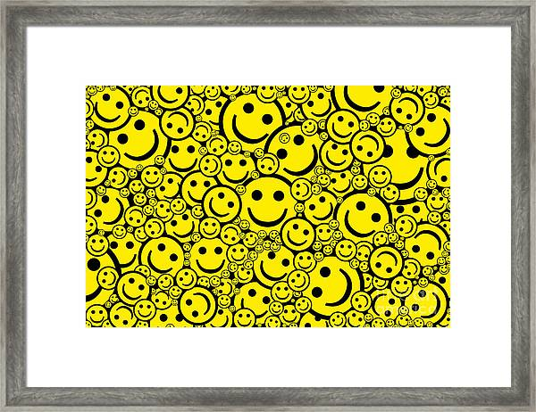 Happy Smiley Faces Framed Print