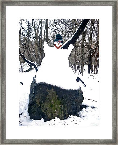 Happy Snowman Framed Print
