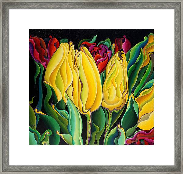 Happy-time Yellow Three-lips Framed Print