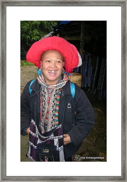 Happy Woman From Sa Pa North Vietnam Framed Print