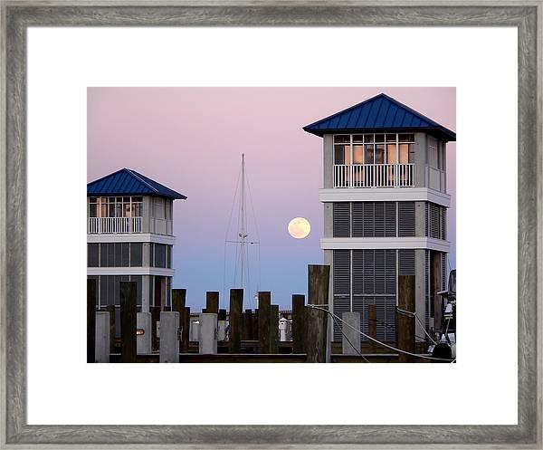 Harbor Moon Framed Print