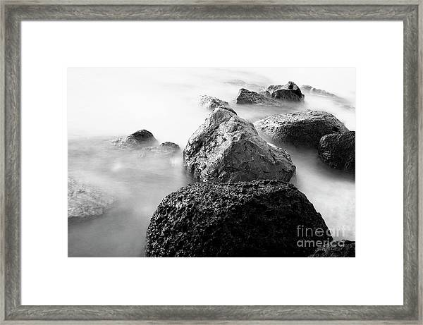 Harbor Rocks And Misty Ocean II Framed Print