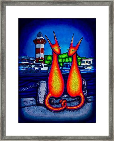 Harbor Town Kats Framed Print