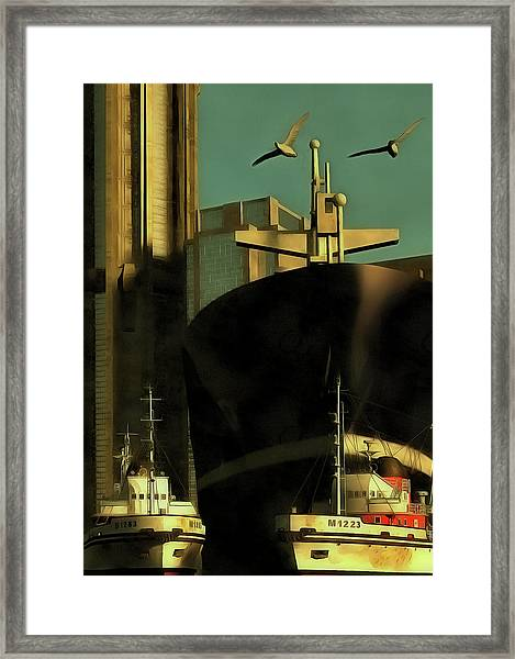 Framed Print featuring the painting Harbor With Towboats by Jan Keteleer