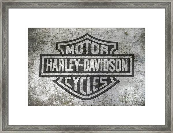 Harley Davidson Logo On Metal Framed Print