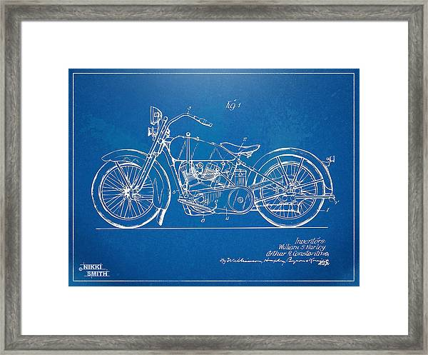 Harley-davidson Motorcycle 1928 Patent Artwork Framed Print