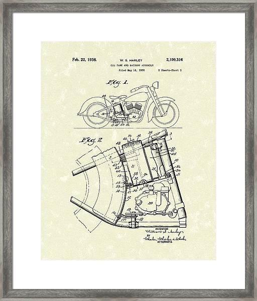 Harley Motorcycle 1938 Patent Art Framed Print