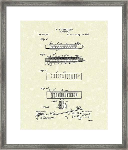 Harmonica Fairfield 1897 Patent Art Framed Print