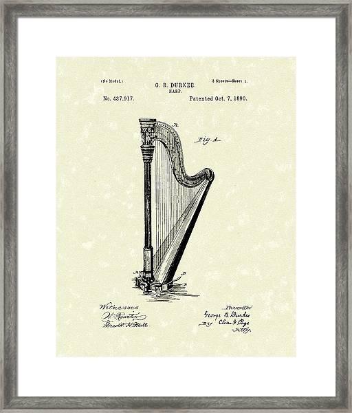 Harp 1890 Patent Art Framed Print