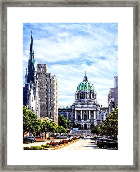 Harrisburg Pa - Capitol Building Seen From State Street Framed Print