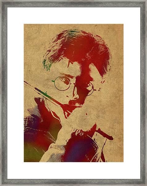 Harry Potter Watercolor Portrait Framed Print