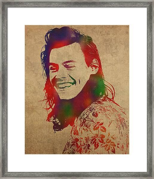 Harry Styles Watercolor Portrait Framed Print