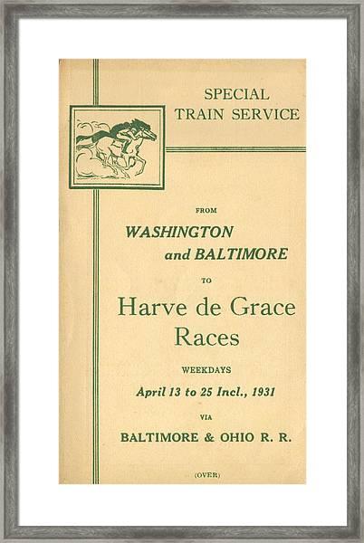 Harve De Grace Races Framed Print