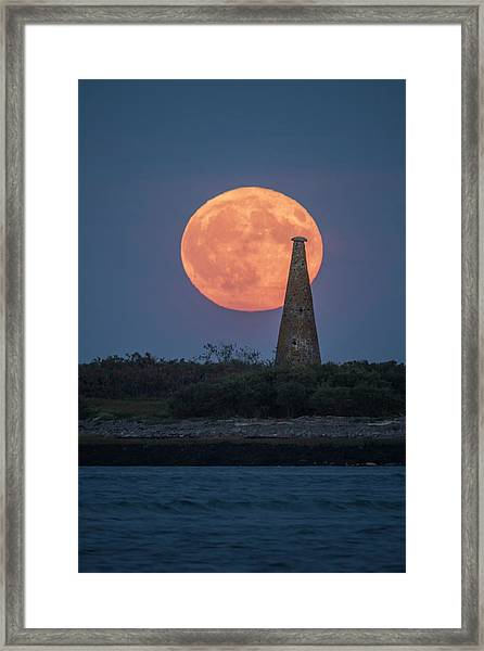 Harvest Moon Over Stage Island, Maine Framed Print